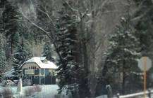 Snugly and warm. #cozy #wintervillage #winterwonderland #snow #stopsign