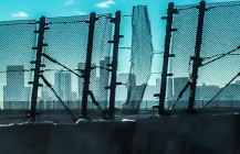 #skylineporn #chainlinkfence #wired #bandaid #Denver #denverstreetart #skylineview #fence #interstate70