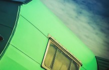 #green #vintage #airstream #trailer #camper #tailfin #twintail #fins #California